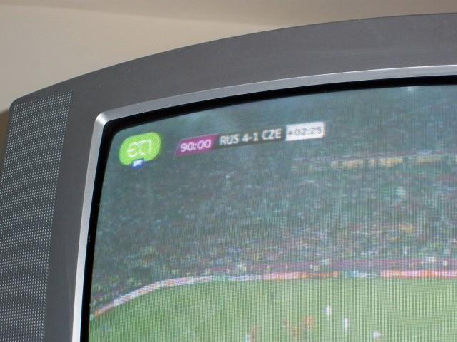 Маленький телевизор под потолком и местный канал на греческом языке